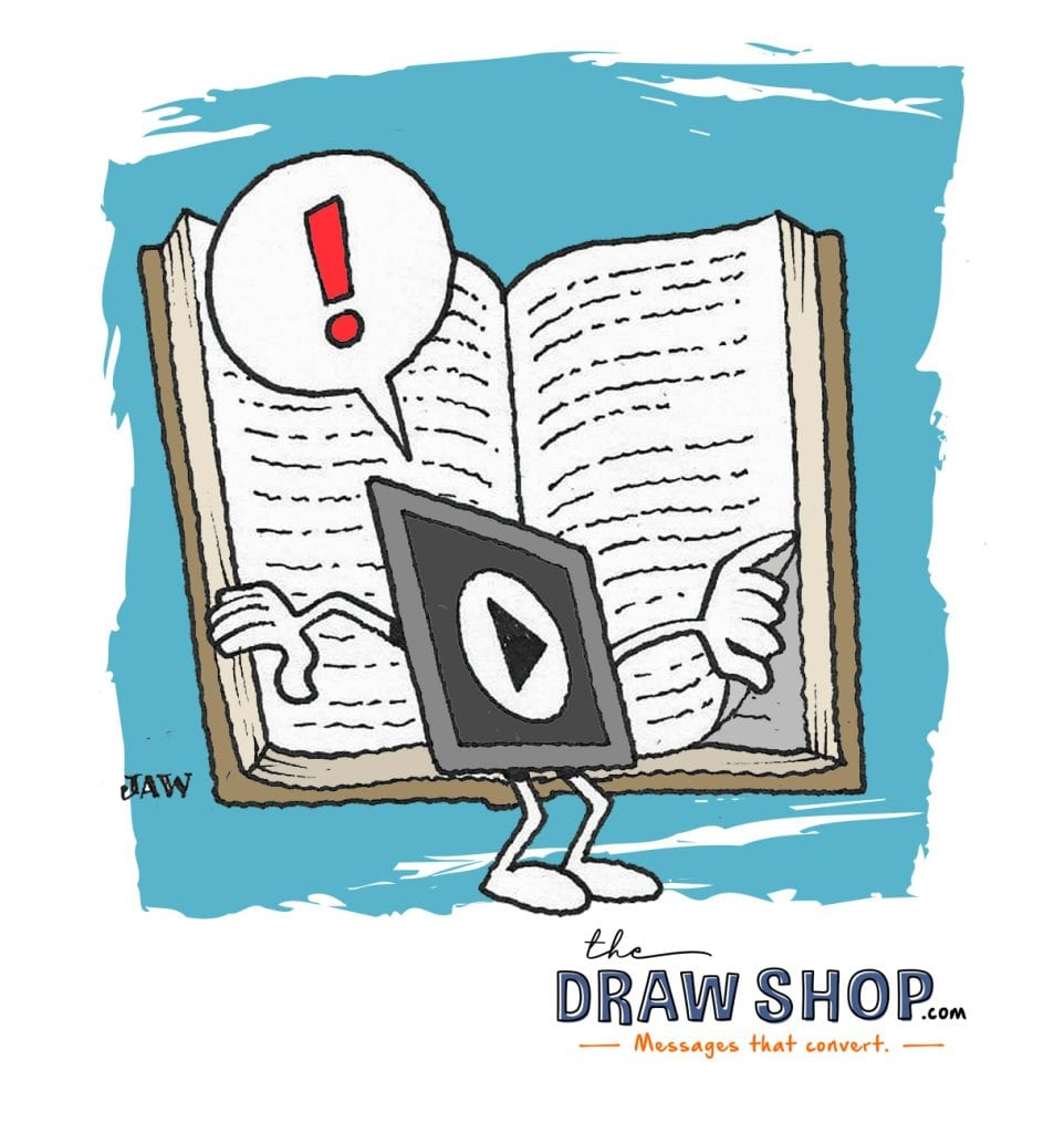 Pictured: The Draw Shop's mascot, ROIvid, flipping a page on a big book. Speech bubble with an exclamation sign floats above his head.