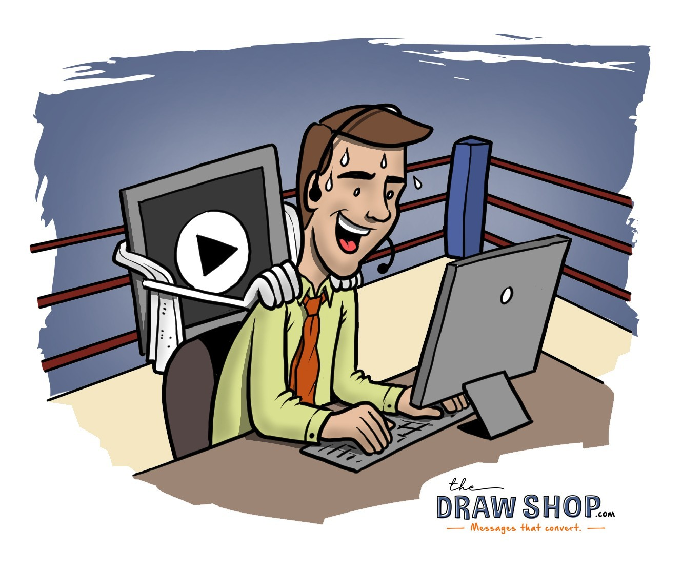 The image shows a customer support rep at his desk. The desk is in a boxing ring, and the rep is on a call, sweating. Behind him, The Draw Shop's mascot is rubbing his shoulders a la boxing coach.